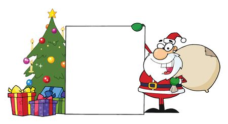 Santa Claus Presenting A Blank Sign And Christmas Tree  Vector