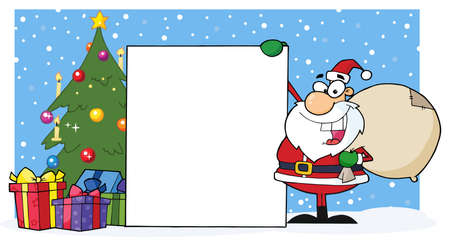 Santa Presenting A Blank Sign Board And Christmas Tree  Vector