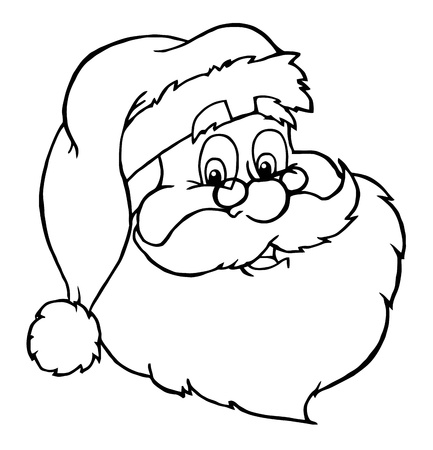 saint nicholas: Outlined Classic Santa Claus Head  Illustration