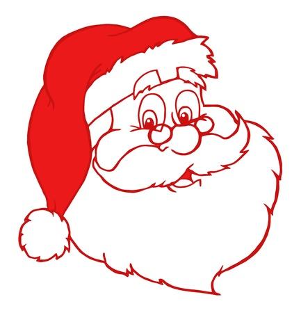 Red Classic Santa Claus Head  Illustration