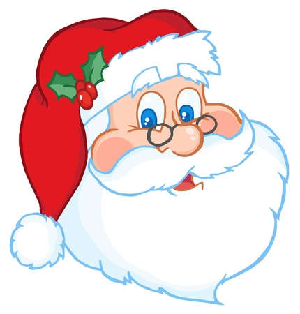 funny bearded man: Classic Santa Claus Head  Illustration