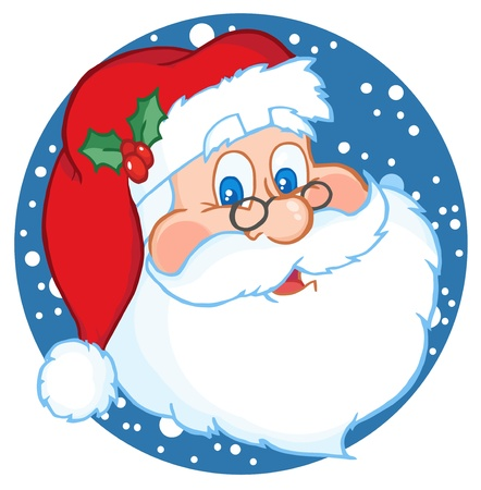 kris kringle: Classic Santa Claus Face Illustration