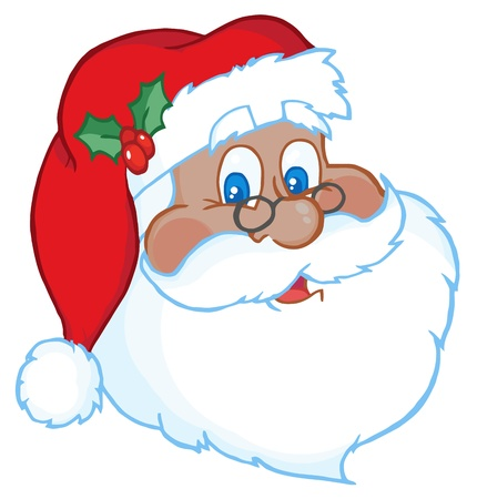 cartoon santa: African American Classic Santa Claus Head