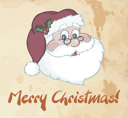 Greeting With Classic Santa Claus Head  Vector
