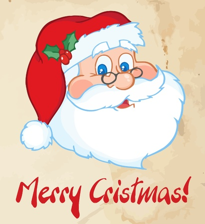 Merry Christmas Greeting With Classic Santa Claus Head  Vector