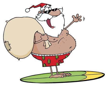 African American Santa Carrying His Sack While Surfing  Vector