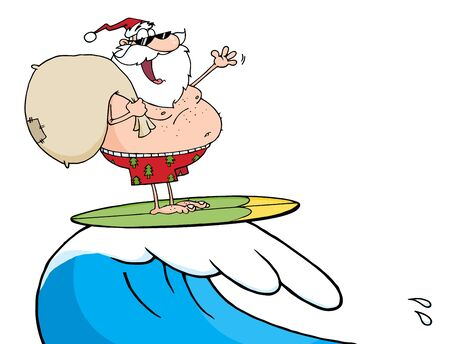Santa Claus Surfing With His Sack  Vector
