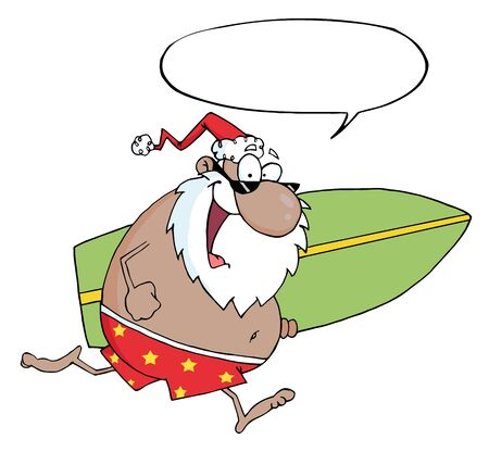 African American Santa Running With A Surfboard With Speech Bubble  Vector