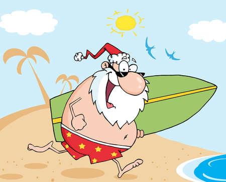 Santa Running On A Beach With A Surfboard Vector