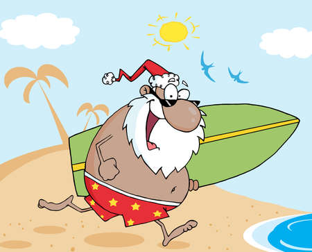 African American Santa Running On A Beach With A Surfboard  Vector