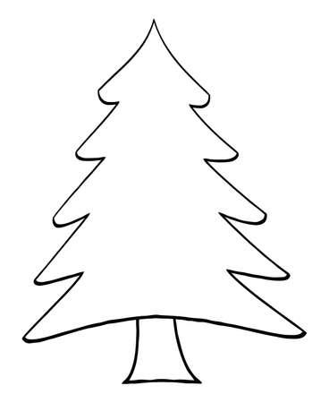 christmas celebration: Outline Cartoon Christmas Tree