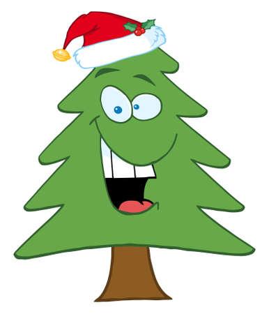 Cartoon Christmas Tree With Santa Hat Stock Vector - 8284549