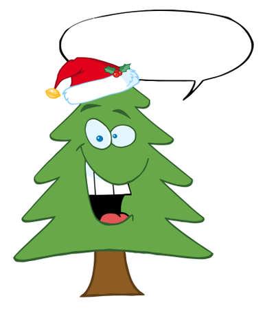 christmas tree illustration: Cartoon Christmas Tree With Santa Hat And Speech Bubble