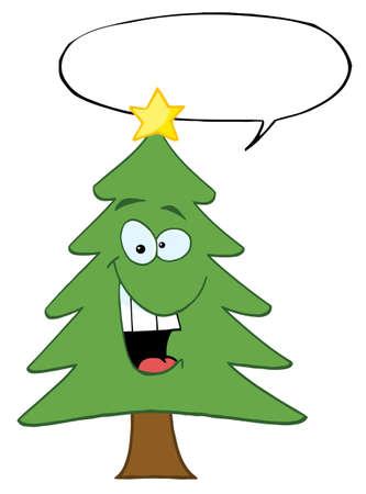 Cartoon Christmas Tree With Speech Bubble  Vector