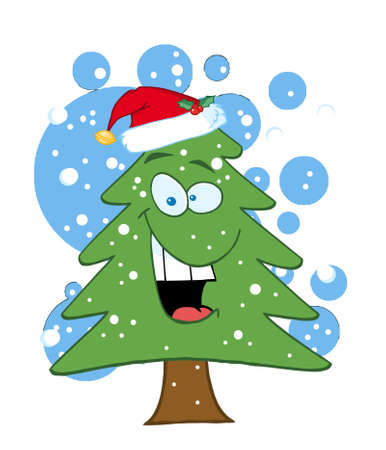 christmas snow: Cartoon Christmas Tree With Santa Hat In The Snow Illustration
