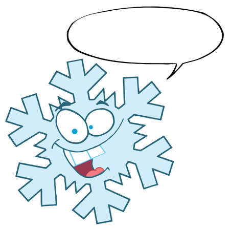 Cartoon Snowflake Character With Speech Bubble  Vector