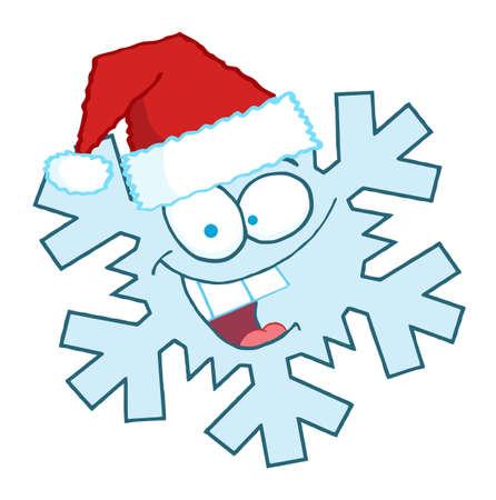 Cartoon Snowflake Character With Santa Hat  Vector