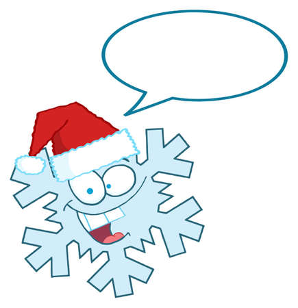 Cartoon Snowflake Character With Santa Hat And Speech Bubble Stock Vector - 8284558
