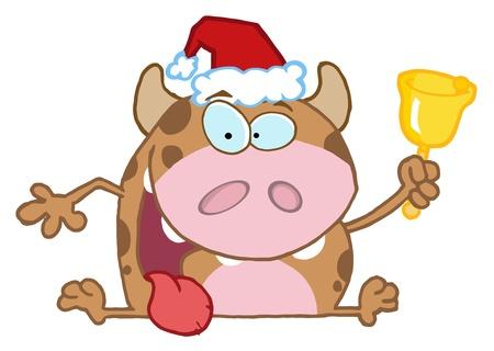 Happy Calf Cartoon Character Ringing A Bell  Vector