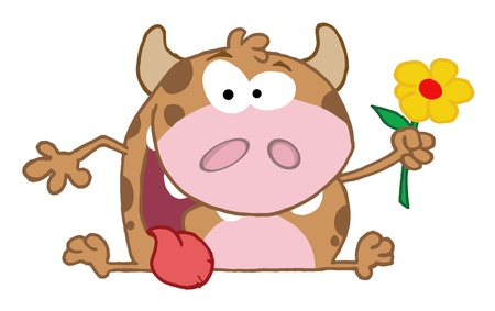 Happy Calf Cartoon Character With Flower  Vector