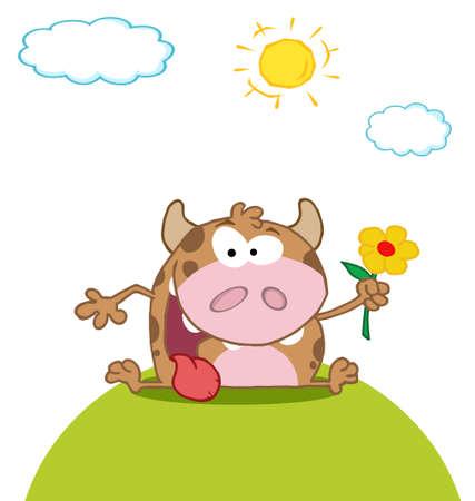 Calf Cartoon Character With Flower Vector
