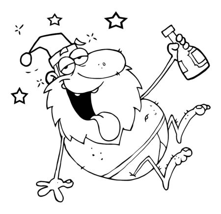 Outline Drunk Santa Clause  Stock Vector - 8372547