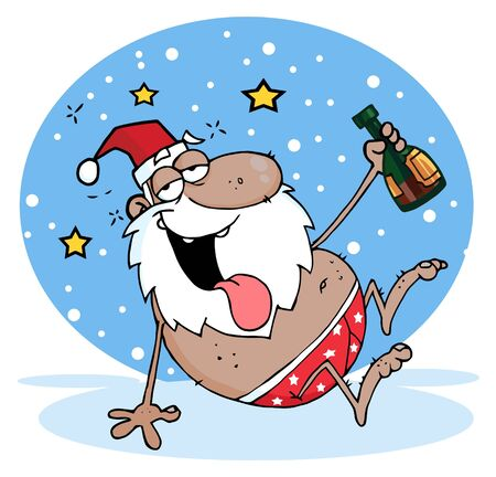 Drunk African American Santa Clause In The Snow  Vector