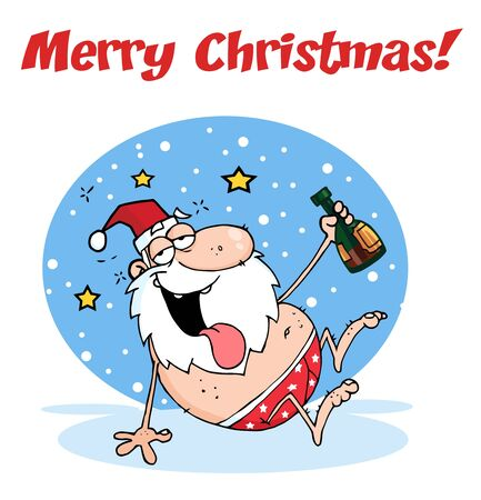 clause: Merry Christmas Greeting With Drunk Santa Clause  Illustration