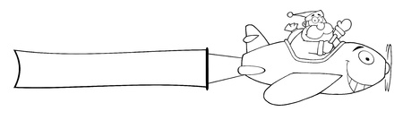 Outline Santa Claus Flying With Christmas Plane And A Blank Banner Attached  Vettoriali