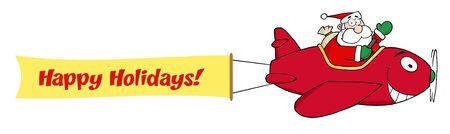 Santa Claus vliegen met Kerst mis vlieg tuig en een lege Banner bevestigd met tekst  Stock Illustratie