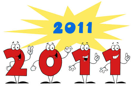 2011 Year Cartoon Character Numbers  Stock Vector - 8372553