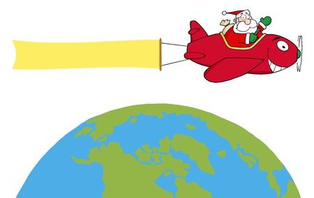 Santa Flying A Plane Banner Over The Globe Vector