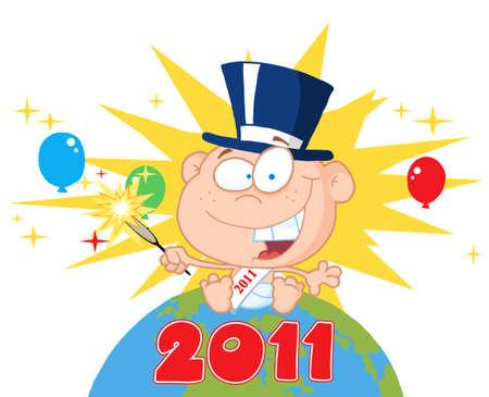 sparkler:  New Year Baby Holding A Sparkler On A Globe