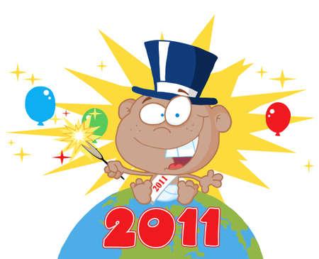 sparkler:  Black New Year Baby Holding A Sparkler On A Globe