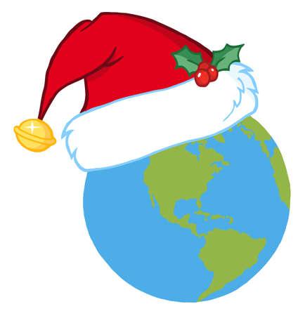 Christmas Earth Wearing A Santa Hat  Vector