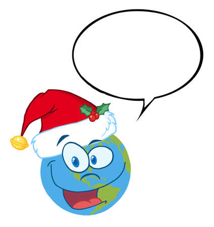 Christmas Earth Wearing A Santa Hat, With A Word Balloon Vector