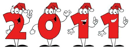 2011 Year Cartoon Numbers With Santa Hats  Vector