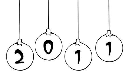 Outlined Christmas Ball Ornaments  Vector