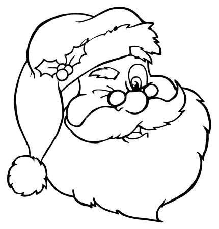 kris kringle: Outlined Santa Claus Winking Classic Cartoon Head