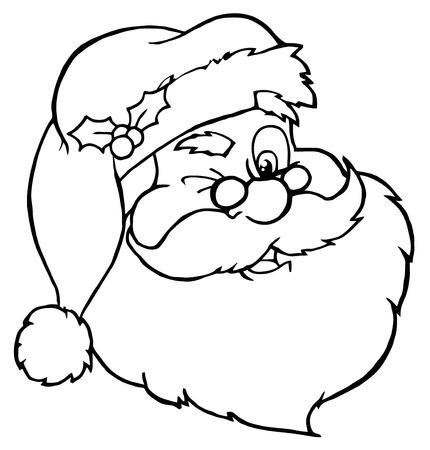 Santa Claus Winking Classic Cartoon hoofd geschetst  Vector Illustratie
