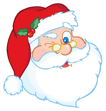 kris kringle: Santa Claus Winking Classic Cartoon Head  Illustration