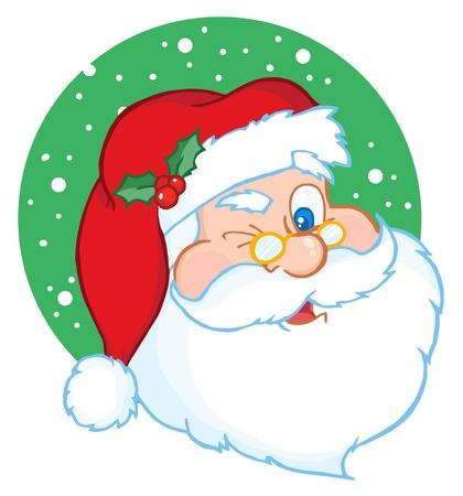 サンタ クロースの古典的な漫画のキャラクターのウインク