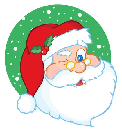 funny bearded man: Santa Claus Winking Classic Cartoon Character