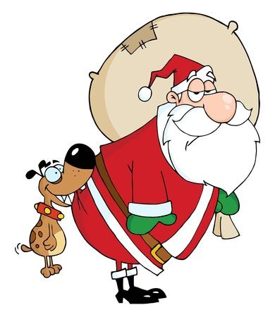 kris: Dog Biting Santas Butt  Illustration