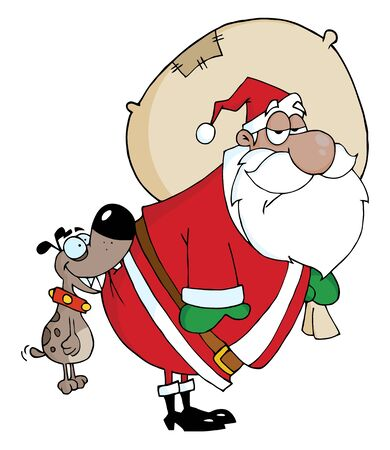 Dog Biting A African American Santa Claus  Vector