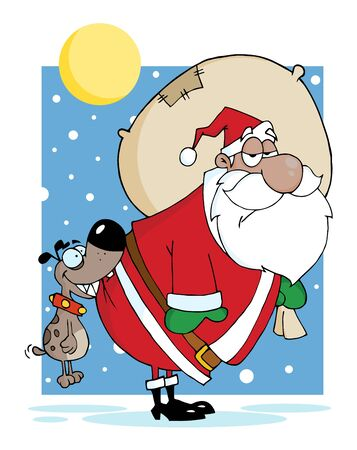 雪の中でお尻をかむブラック サンタ犬