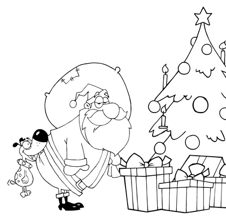 Outlined Dog Biting Santas Butt By A Christmas Tree  Vector
