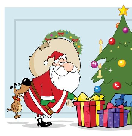 Dog Biting Santas Butt By A Christmas Tree Over Blue  Illusztráció