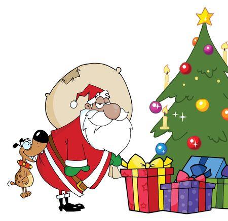 クリスマス ツリーが黒サンタのお尻をかむ犬