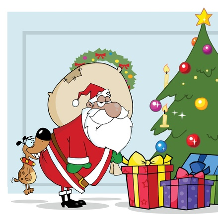 Dog Biting A Black Santas Butt By A Christmas Tree Over Blue  Vector